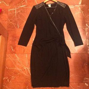 Cache jersey pleather trim wrap dress